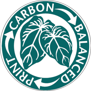 carbon balanced paper logo for marketing