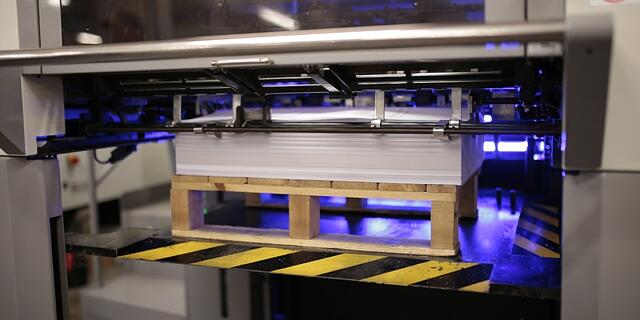 An LED UV printer in use