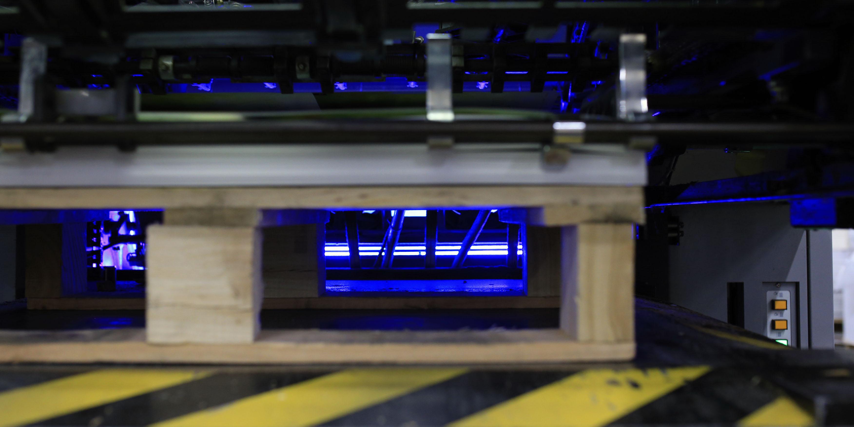 Close up of UV LED printing machine
