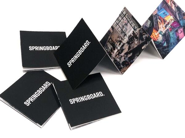 Front cover and inside look at the Springboard leaflet