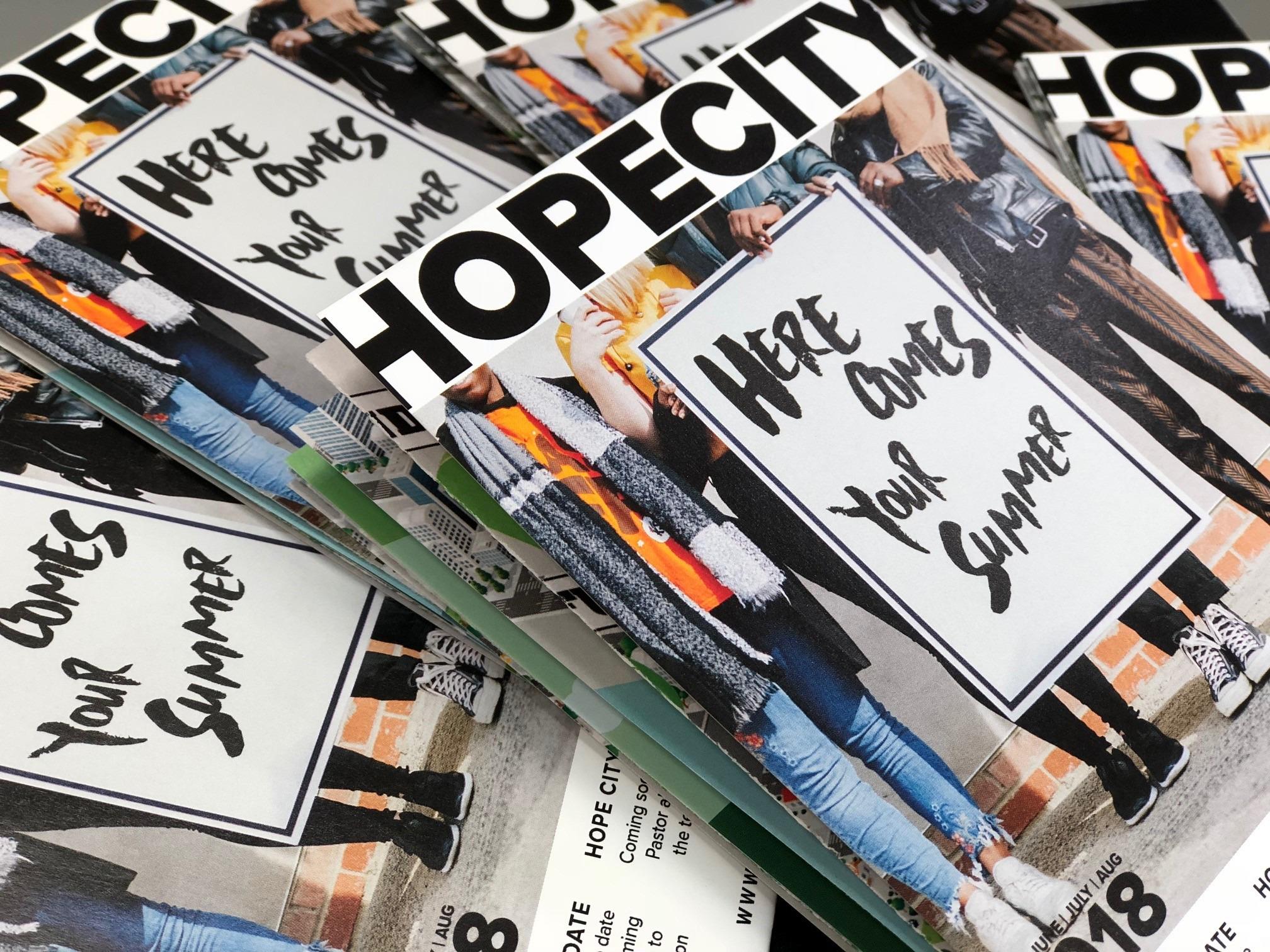 Close up of Hope City Church's folded brochure