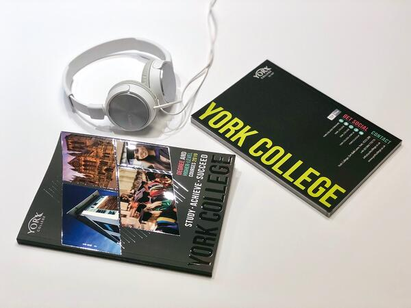 York College Prospectus showing the front and back covers with a headset in the background