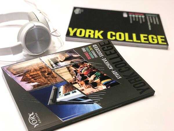 Front and back of York College HE Prospectus