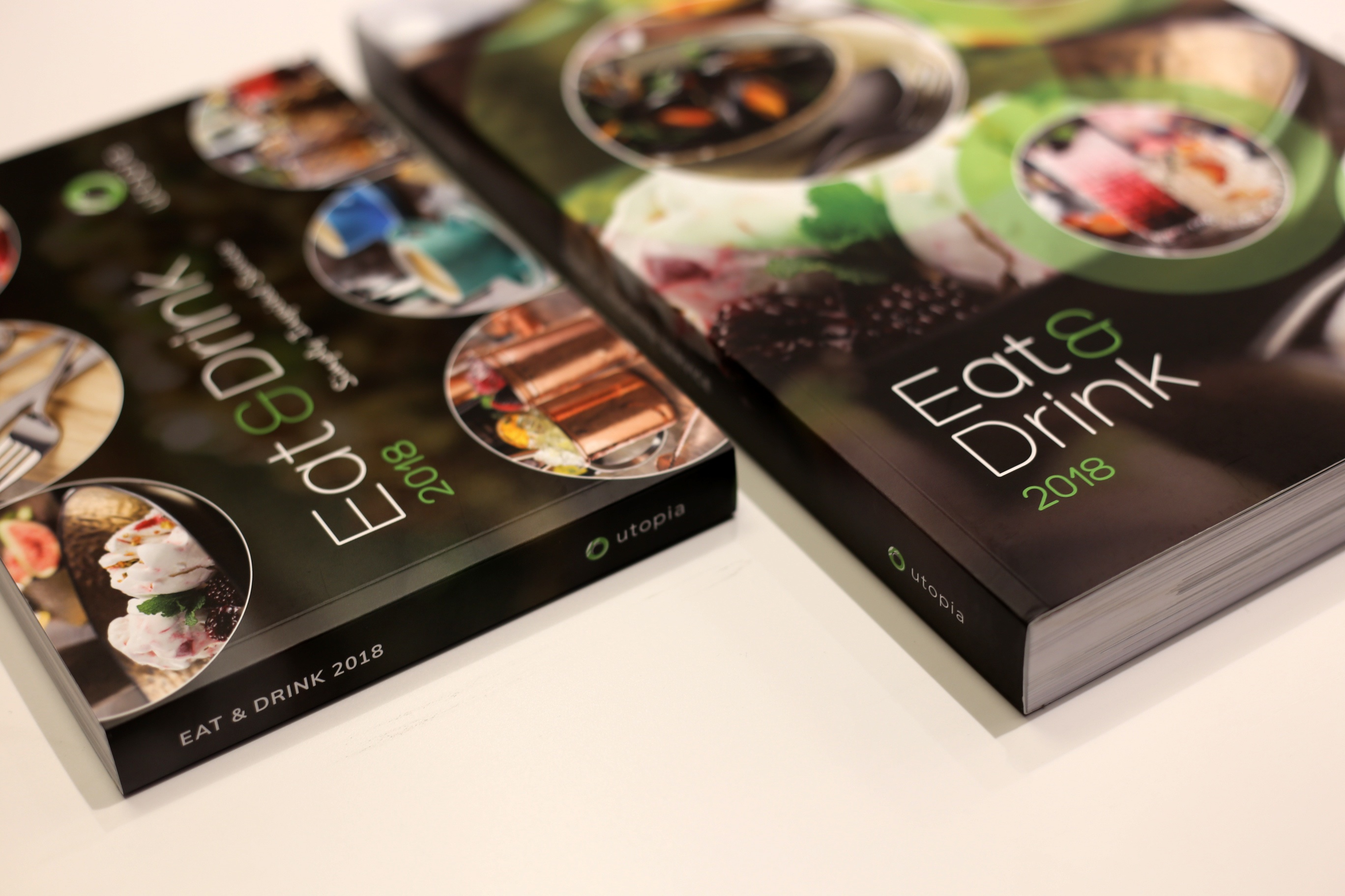 A5 and A4 eat and drink brochure's side by side