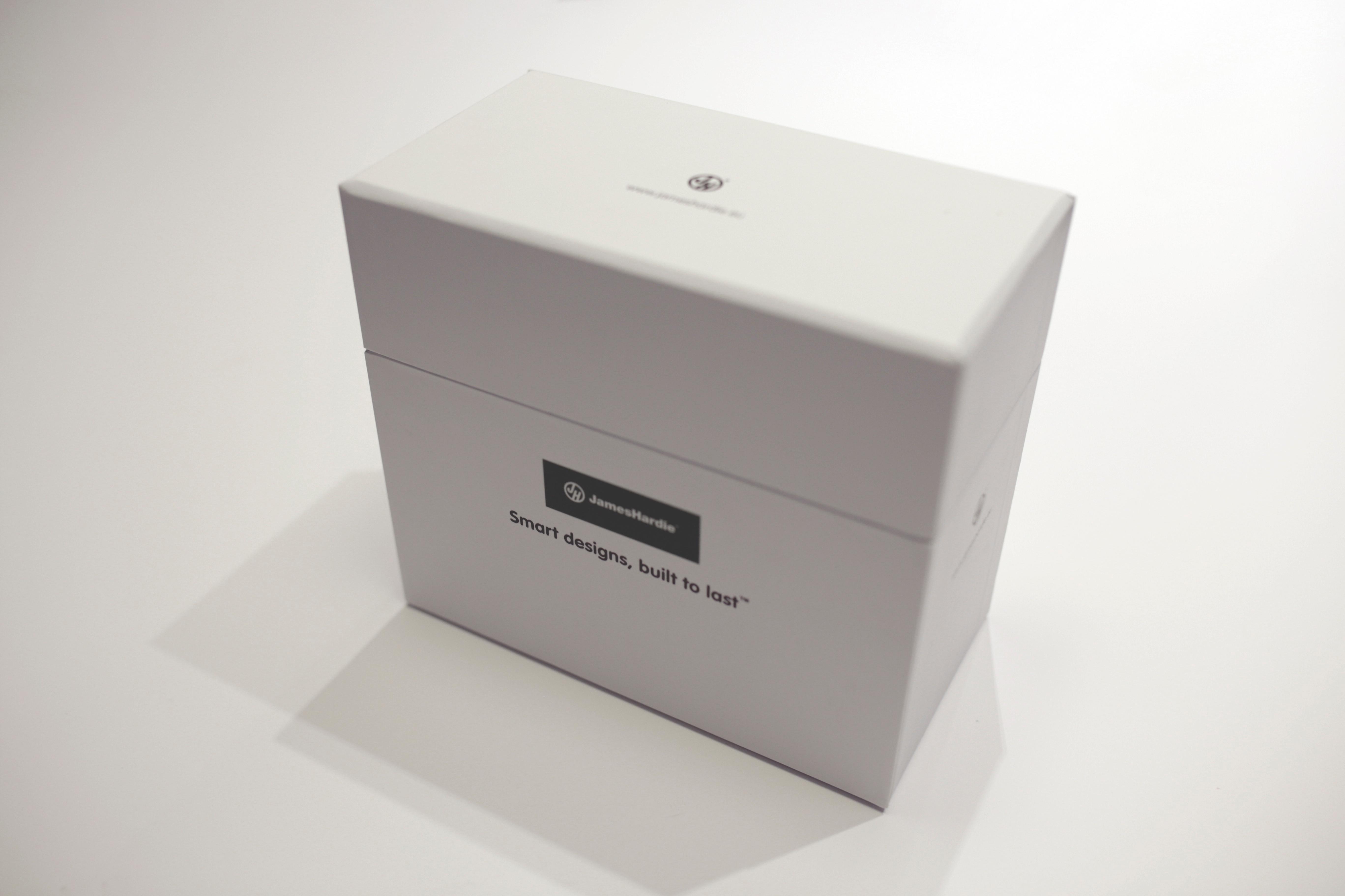 Image of James Hardie's closed sample box