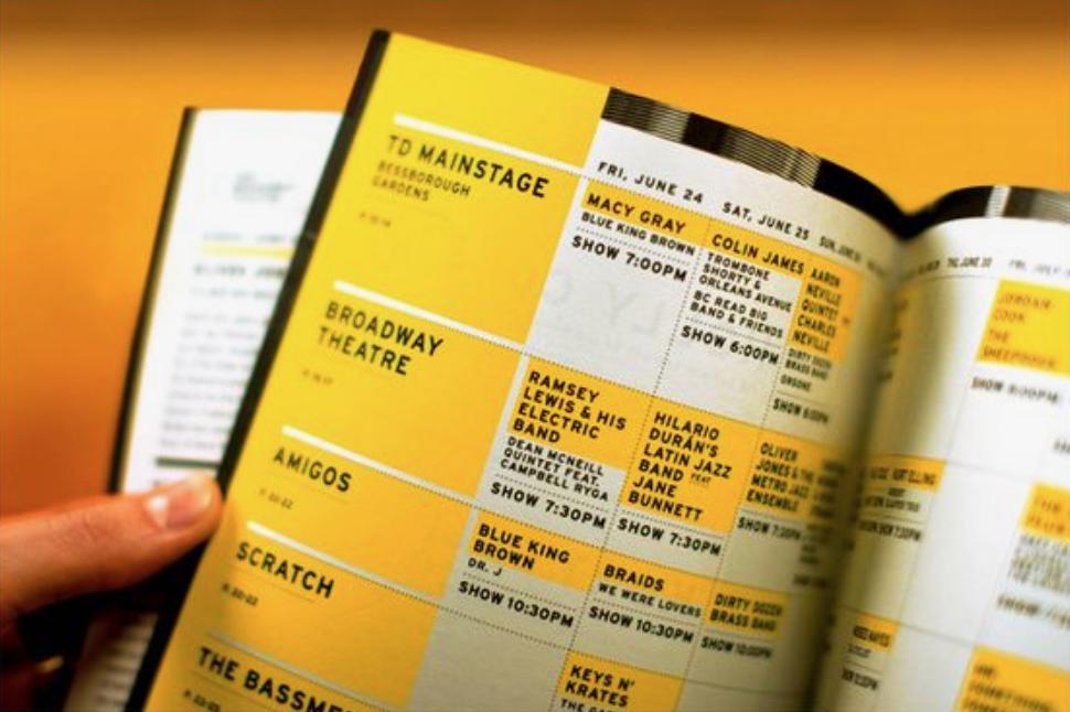 Art festival event brochure contents page