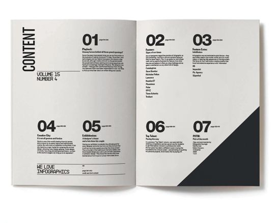 Black and white contents page in an events brochure