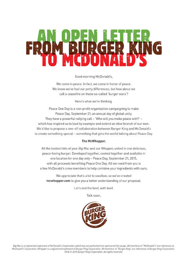 mcdonald's burger king mcwhopper proposal