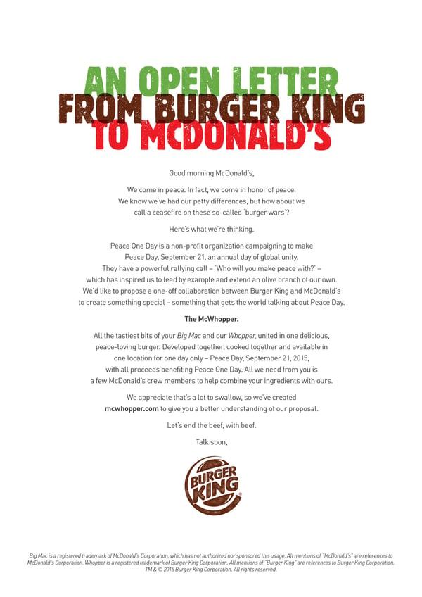 mcdonald's burger king mcwhopper proposal