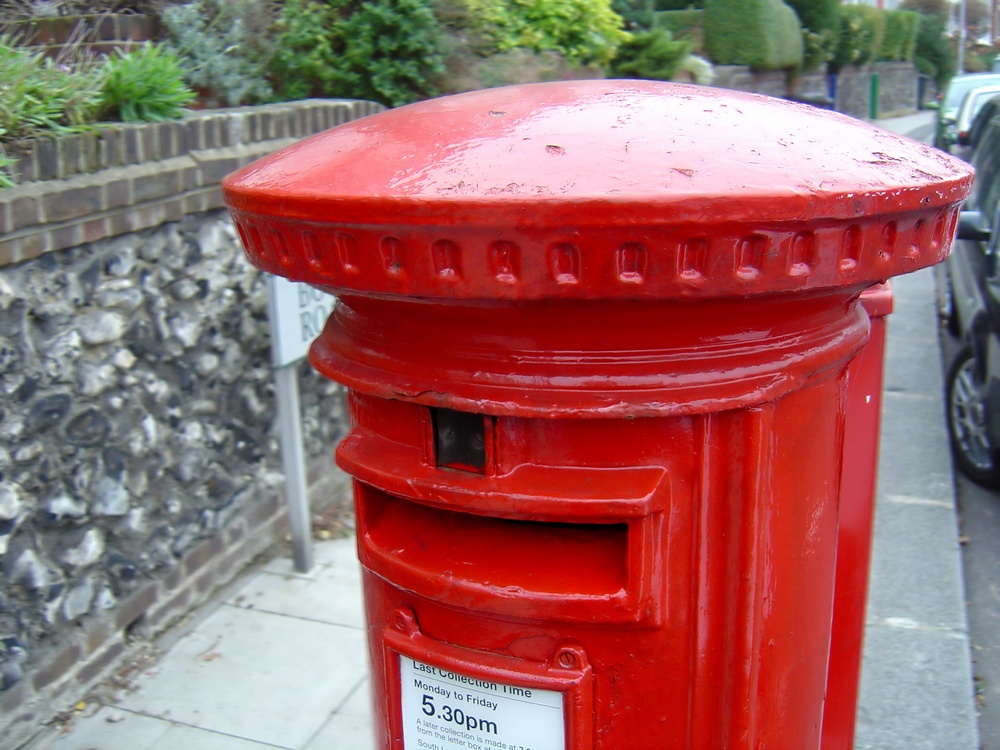 Typical Royal Mail post box in England